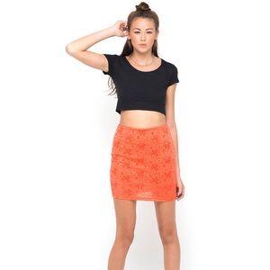 Neon orange lace mini skirt!